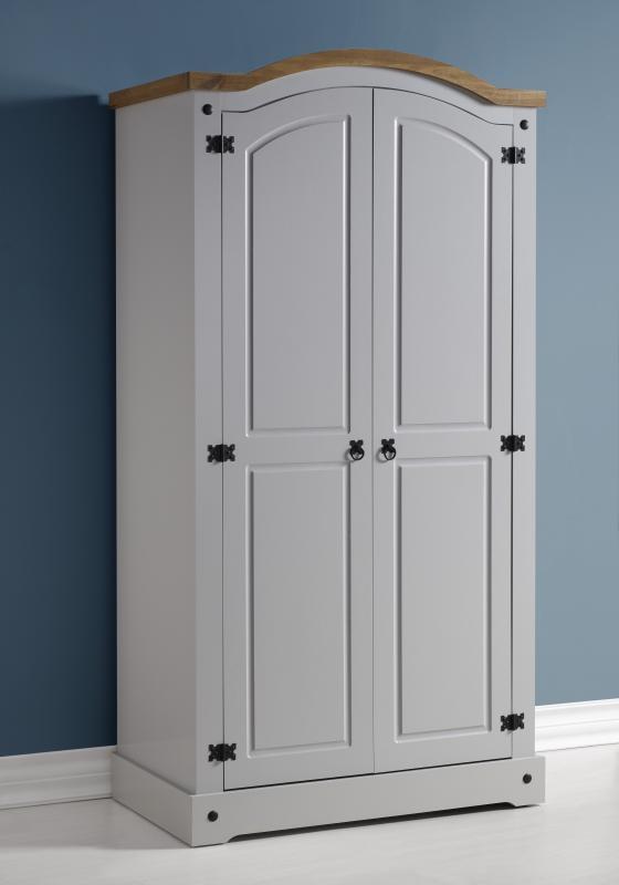 Corona Grey / Distressed Pine 2 Door Wardrobe