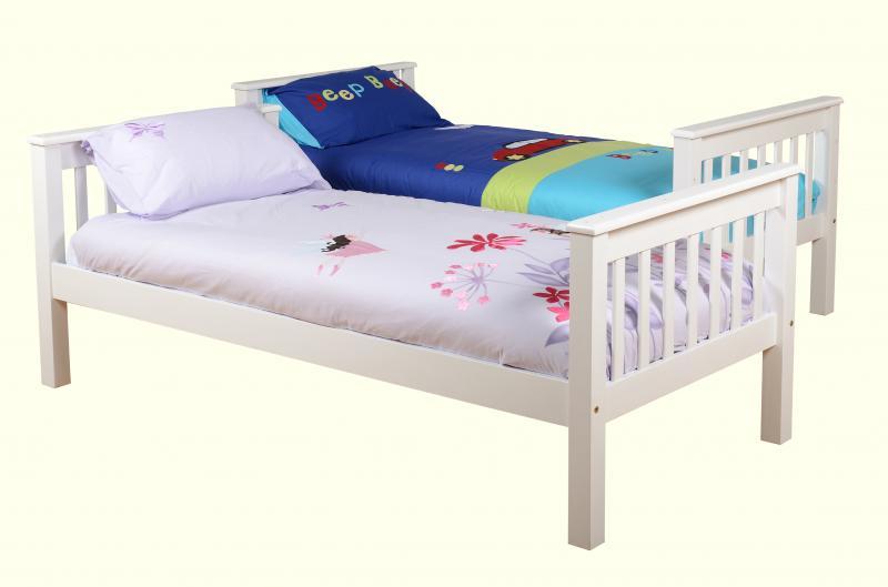 Neptune White Wooden Split Bunk Bed Frame One Stop