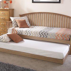 Oak Veneer Curved Wooden Day Bed Frame Set