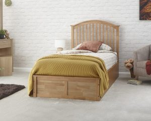 Oak Veneer Curved Ottoman Low End Bed Frame