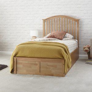 Oak Veneer Curved Ottoman Low End Bed Frame