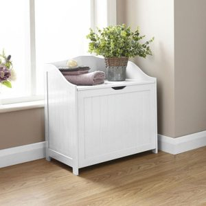 White Bathroom Storage Hamper - Colonial Bathroom Furniture