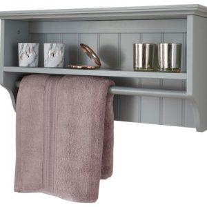 Grey Bathroom Towel Rail Shelf