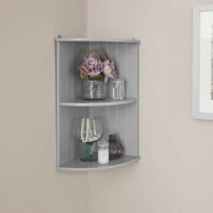 Grey Bathroom Corner Wall Shelf Unit - Colonial Bathroom Furniture
