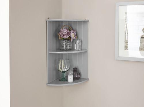 Grey Bathroom Corner Wall Shelf Unit - Colonial Bathroom Furniture