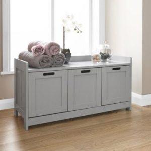 Grey Bathroom 3 Door Storage Bench