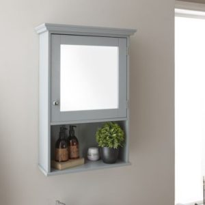 Grey Bathroom Mirrored Cabinet
