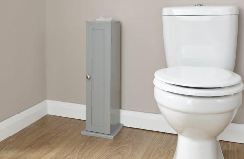 Grey Bathroom Toilet Roll Cupboard