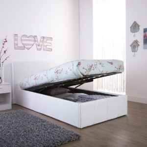 White Faux Leather Ottoman End Lift Bed Frame