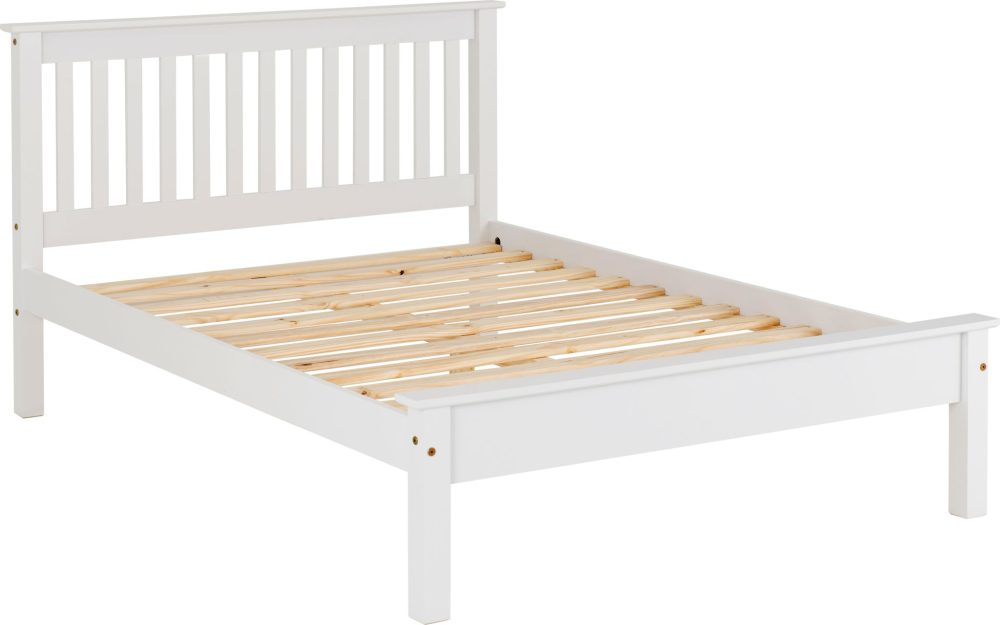 White Wooden Low End Bed Frame 3 Sizes Available