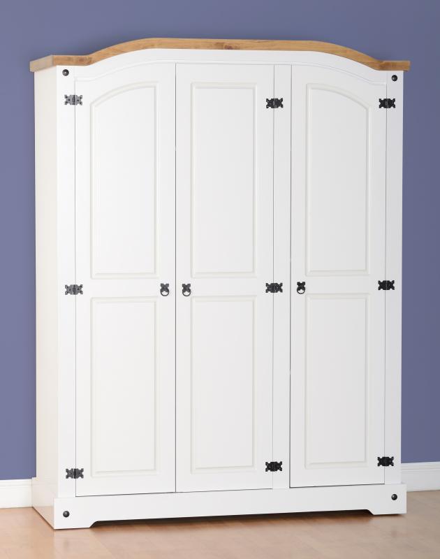 Corona White / Distressed Pine 3 Door Wardrobe
