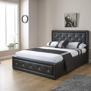 Hollywood Black Faux Leather End Lift Ottoman Bed Frame