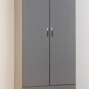 Nevada Grey Gloss 2 Door 1 Draw Wardrobe