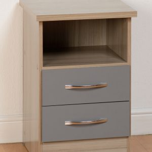 Nevada Grey Gloss 2 Drawer Bedside