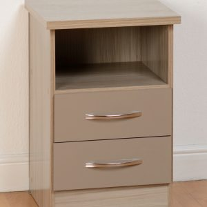 Nevada Gloss 2 Drawer Bedside - Grey & Oyster Available