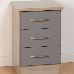 Nevada Gloss 3 Drawer Bedside - Grey & Oyster Available