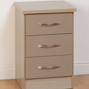 Nevada Oyster Gloss 3 Drawer Bedside