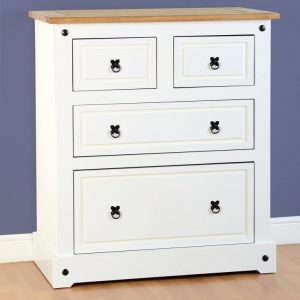 White Corona 2 + 2 Drawer Chest
