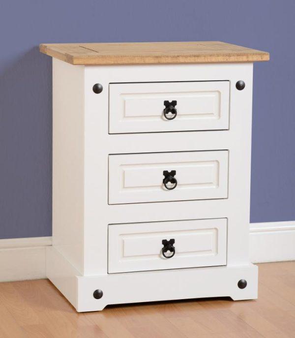Corona White / Distressed Pine 3 Draw Bedside