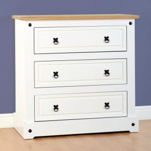 Corona White / Distressed Pine 3 Drawer Chest