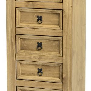 Corona Distressed Pine 5 Drawer Narrow Chest