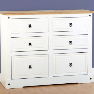White Corona 6 Drawer Chest
