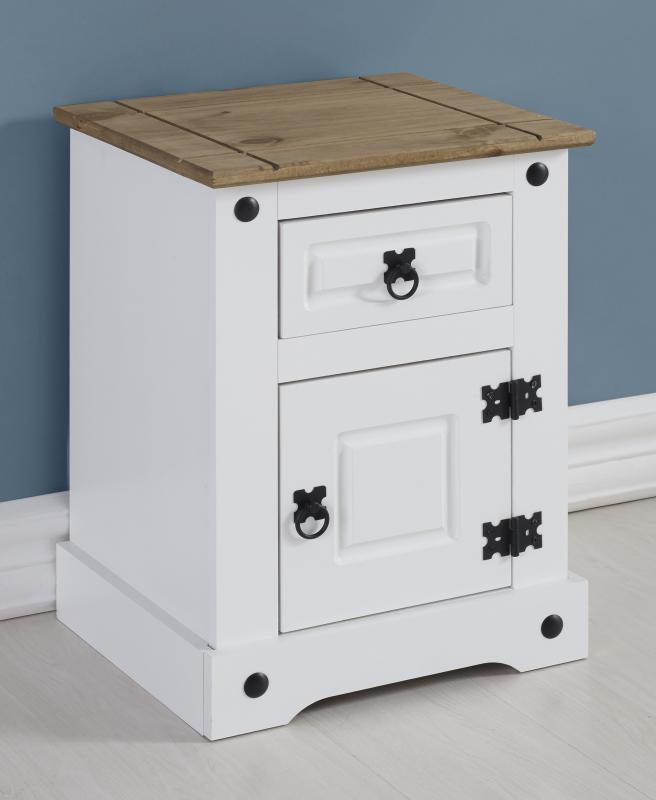 Corona White / Distressed Pine 1 Draw 1 Door Petite Bedside *BRAND NEW*
