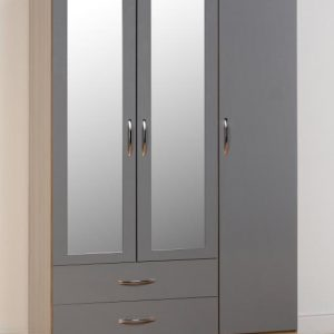 Nevada Grey Gloss 3 Door 2 Draw Wardrobe