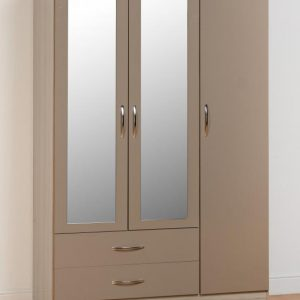 Nevada Oyster Gloss 3 Door 2 Draw Wardrobe