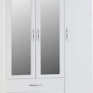Nevada White Gloss 3 Door 2 Draw Wardrobe