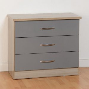 Nevada Grey Gloss 3 Drawer Chest