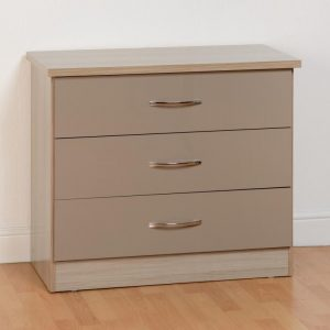 Nevada Gloss 3 Drawer Chest - Grey & Oyster Available *BRAND NEW*