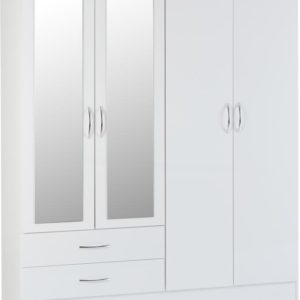Nevada White Gloss 4 Door 2 Draw Wardrobe