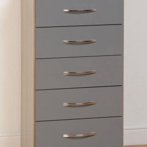 Nevada Grey Gloss 5 Drawer Chest