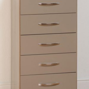Nevada Oyster Gloss 5 Drawer Chest