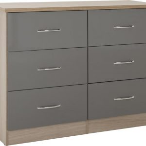 Nevada Grey Gloss 6 Drawer Chest