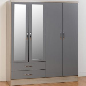Nevada Grey Gloss 4 Door 2 Draw Wardrobe