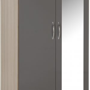 Nevada Gloss 2 Door 1 Draw Mirrored Wardrobe