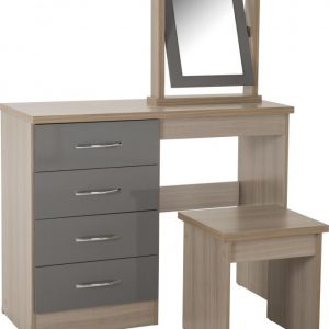 Nevada Grey Gloss 4 Drawer Dressing Table Set