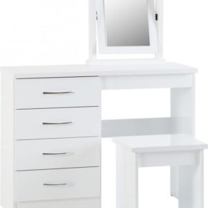 Nevada White Gloss 4 Drawer Dressing Table Set