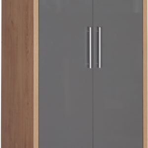 Seville Grey Gloss 2 Door 1 Draw Wardrobe
