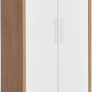 Seville White Gloss 2 Door 1 Draw Wardrobe