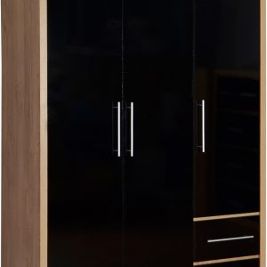 Seville 3 Door Black Gloss Wardrobe