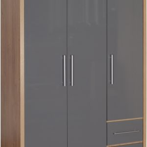 Seville 3 Door Grey Gloss Wardrobe