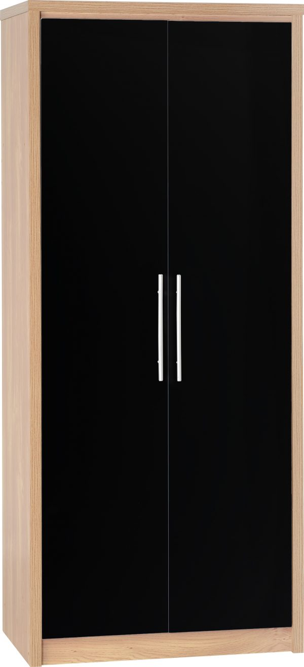 Seville 2 Door Black Gloss Wardrobe