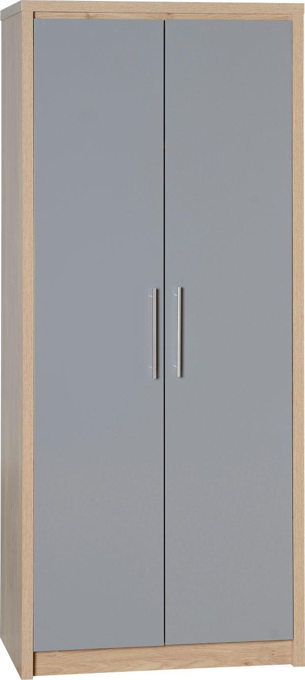Seville 2 Door Grey Gloss Wardrobe