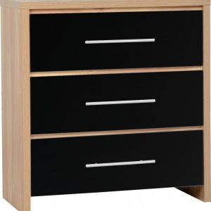 Seville Black Gloss 3 Drawer Chest
