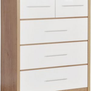 Seville White Gloss 3 + 2 Drawer Chest
