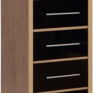 Seville Black Gloss 5 Drawer Narrow Chest