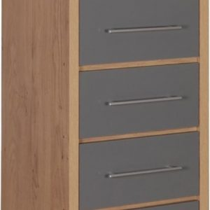 Seville Grey Gloss 5 Drawer Narrow Chest